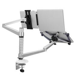 подставка для ноутбука Скидка OA-9X 2 In 1 Combination Bracket Stand Adjustable Dual Arm Laptop Alloy Holder For 15 inch Laptop and 10 inch Tablet