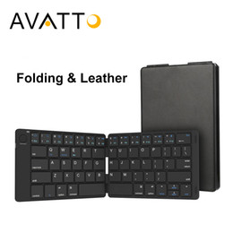 Wholesale Bluetooth Folding Keyboard For Tablet - [AVATTO] Travel Pocket Leather Folding Mini Keyboard with Bluetooth 3.0 Wireless Keypad for iphone,Android phone,Tablet,ipad,PC
