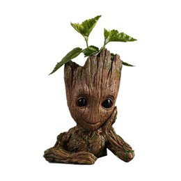 Wholesale Flowers Toys - New Fashion Guardians of The Galaxy Flowerpot Baby Groot Action Figures Cute Model Toy Pen Pot Best Christmas Gifts For Kids 0701040