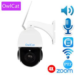 Wholesale waterproof ptz dome ip camera - OwlCat Sony323 CMOS 3516C Outdoor Waterproof WiFi 4X Zoom PTZ IP Dome Camera 1080P HD IR Night Vision Audio Two way Talk Metal