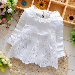 Wholesale Sleeved Knee Length Dresses - 2018 New Arrived Summer Fashion Four Leave Grass Lace Children Baby Girls Short-sleeved Dress kids girls fashion Dresses