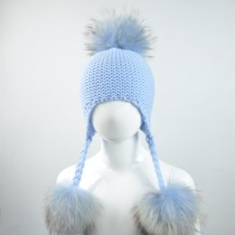 80aef17e928 Knitted Baby Hat with Three Real Fur Pompom Children Beanie Boy Girl  Natural Raccoon Fur Ball Kids Cap Cute Real Pom Pom Hat