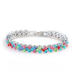 Wholesale Wholesale Swarovski Crystal Jewelry Sets - Luxury 5 Colors Swarovski Crystal Designer Bracelet for Women Stainless Steel Jewelry Bangles Luxury Jewelry Love Bracelet Bracciali