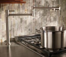 Wholesale Brushed Nickel Kitchen - Brass Black Chrome Brushed Nickel Pot Filler Kitchen Faucet Deck Mounted Universal Telescopic Sink Single Cold Tap