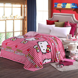 Gemello rosa coperta online-Bambini Pink Hello Kitty Cartoon Plush Blanket sul letto Soft Sofa Throw Blanket Brand Twin Full Queen King Size