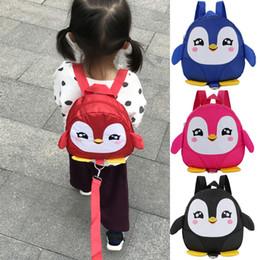 pinguim dos desenhos animados bolsas Desconto Pinguim dos desenhos animados anti-lost mochilas da criança jardim de infância crianças sacos de escola crianças mochila mochila para menino e meninas