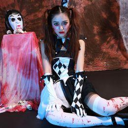Zombi Palyaço Kostüm Jester Bayan Bayanlar Scary Halloween Fantezi Elbise Kıyafet supplier scary clowns for halloween nereden cadılar bayramı için korkunç palyaçolar tedarikçiler