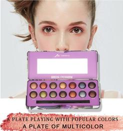 paleta 15 piezas Rebajas Venta al por mayor 14 Color mineral Sombra de ojos Paleta Brillo Pigmentado Sombra de ojos Paleta Larga duración impermeable maquillaje conjuntos con cepillo