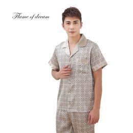 Wholesale Xs Men Satin Shirts - 2018 Men Pajamas Sleepwear Silk Pyjamas Men Satin Pajama 8150