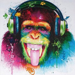 Wholesale rock music decor - Modern HD Print Home Decor Rock Music Monkey Oil Painting Watercolor Paint Wall Art Painting Wall Picture Poster For Living Room Decor