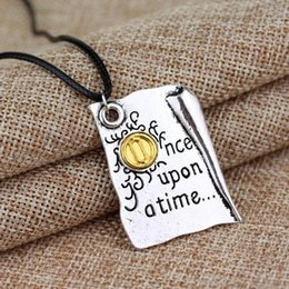 Wholesale Vintage Book Chain - Wholesale- Drop Shipping New Design Necklace Once Upon A Time Story Book Page Pendant Necklace Wholesale 1pc Hot Sale Jewelry Vintage Book