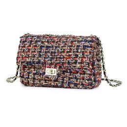 Шерстяные сумочки онлайн-Wool Shoulder bag Women Bag  handbags designer  Ladies Chain Plaid Crossbody Messenger Bags Sac A Main