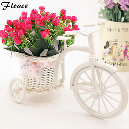 Wholesale White Vase Sets - Wholesale-Floace High Quality rattan vase + flowers meters spring scenery rose artificial flower set home decoration Birthday Gift