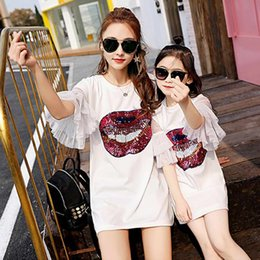5e98fee9f6d4f Family Matching Outfits summer family Mother Daughter dress paillette kiss  Prints print baby head band dress free ship