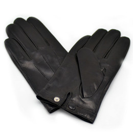 leather sheep gloves Promo Codes - Calharmon men one real sheep leather wrist button gloves black