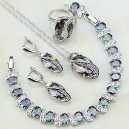 Wholesale Jade White Gold Ring - whole saleMystic Rainbow Cubic Zirconia White CZ 925 Sterling Silver Jewelry Sets For Women Party Necklace Earrings Pendant Ring Bracelet