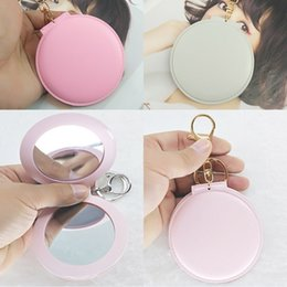 Wholesale car side mirror accessories - 14 Styles Portable Mini Folding Makeup Mirror Keychain Leather Round Double-Sided Mirror Keyring Bag Key Chains Accessories Free DHL G786R