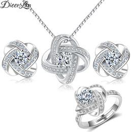 923d310e691 2019 colar anel cruz DIEERLAN 2019 Venda Quente 925 Sterling Silver Cross Clover  Flor Conjuntos de