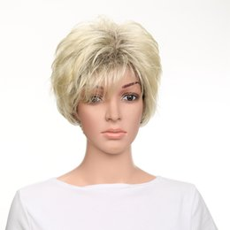 Wholesale Wig Blond Short - Wholesale Blond Short Bob Straight Layered Synthetic Lace Front Wig Heat Resistant for Women Full Hair Free Shipping