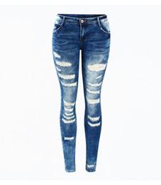 i jeans colorati blu Sconti Women's Celebrity Style Fashion Blu Low Rise Skinny denim strappato lavato jeans stretch per le donne pantaloni strappati