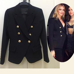 Blazers cortos para mujer online-Milan Runway 2018 Luxury Short Blazers para mujer Diseñador Negro / Oro Blanco Botones Blazers para mujeres 8788282