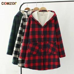 0605d3706 Plus size mulheres trench coat xadrez grosso de lã de cordeiro solto com  capuz de manga comprida outono inverno das mulheres casacos casaco feminino  ...