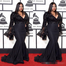 Wholesale Gowns For Fat Sleeves - sexy v-neck black long sleeves mermaid prom dresses for fat women formal floor length evening gowns free shipping Formal evening Dresses
