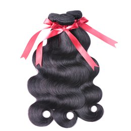 Wholesale double drawn body wave - VIYA Body Wave 3 Bundles With Lace Closure Raw Indian Virgin Hair Unprocessed Double Drawn Weaves Mink Brazilian Hair Natural Black