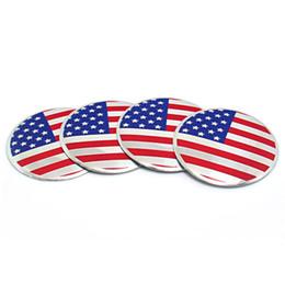 Hotsale 4 pçs / lote 56mm eua bandeira da américa carro centro de roda hub tampas adesivo emblema para carros universal moto bicicleta decorativa de Fornecedores de adesivos de tampas de centro de liga