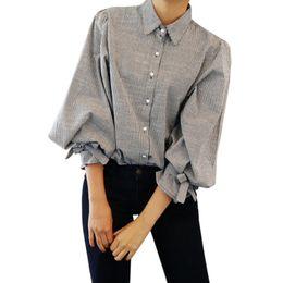 e97cbecc2 2018 Camisa a cuadros estilo universitario femenino Blusas de mujer Camisa  de franela de manga larga Blusas de algodón Tops de oficina 9176 rebajas  estilo ...