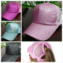 Wholesale Ponytail Pink - Women Glitter Ponytail CC Softball Caps Cap Newest Sequin Girl Baseball hats back hole Pony Tail Drop Shipping Sports Travel hat