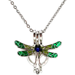 collares de libélula para mujer Rebajas Esmalte de Plata Libélula Belleza Aceite Esencial Difusor Medallón Perlas de Aromaterapia Perla Ostrero Jaula Collar Colgante-Boutique regalo