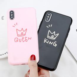 2019 rei suave Glossy coroa phone case letra king tampa traseira amor coração macio tpu casos para iphone x xs max 8 7 6 6 s além de rei suave barato