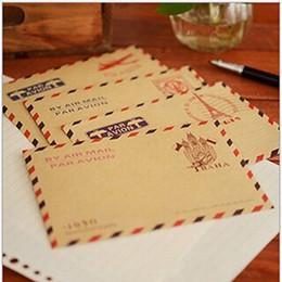 Wholesale Vintage Letter Paper Envelopes - Wholesale- Hot 10 Pcs lot Retro Postcard Letter Mini Gift Envelope Stationary Storage Brown Kraft Paper Vintage Envelop Approx.9.6*7.3cm