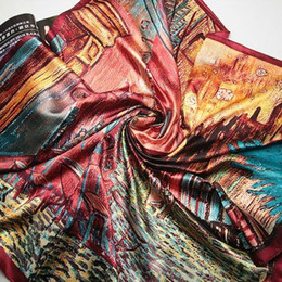 Pintura a óleo tamanho grande on-line-90 cm * 90 cm New Arrival Mulheres Vincent Van Gogh pintura a óleo casa de café tamanho grande lenço de seda mulheres xales menina wraps NOVO