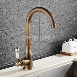 Wholesale Bronze Single Hole Faucets - New style antique brass finish faucet kitchen sink basin faucets mixer tap with ceramic hot and cold AF1091