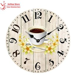 Wholesale Wall Coffee Clocks - Wholesale- New Arrival Modern Coffee Large Decorative Wall Clocks Home Decoration Kitchen Wall Clock Fashion Wall Watches Saat Clock
