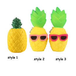 Wholesale Decoration Gifts - Pineapple Squishy Sunglasses Decompression Jumbo Scented Simulation Squishies Decoration Kids Toy Glasses Squeeze Gift Free Shipping