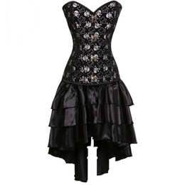 Wholesale victorian steampunk dresses - Black Pirate Skull Print Victorian Corsets And Bustiers Steampunk Corset Dress Gothic Clothing Sexy Burlesque Costumes For Women