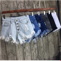 pantalones cortos rasgados agujero de bolsillo Rebajas Ripped Pocket Women Shorts Summer Casual Denim Shorts Vintage Hole Hot Shorts Denim para Mujeres
