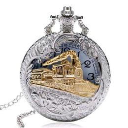coolste taschenuhren Rabatt 2018 neue Mode kühle hohle silberne goldene Lokomotive Quarz Design Taschenuhren Halskette für Männer Geschenk Uhr Großhandel