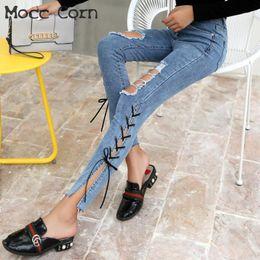 5706759202258 Mocc Corn Cotton Distressed Knee Hole Ripped Jeans Torn Women Side Split  Criss Cross Stretch Skinny Jean Slim Femme Denim Pants