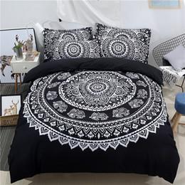 Wholesale Lotus Bedding - WAZIR Mandala Print Elephant Exotic Bedding Set Floral Pattern Duvet Cover Set Black and White Bohemian Bedclothes Lotus Bed
