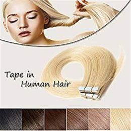 lange gebleichte blonde haare Rabatt Klebeband in Echthaarverlängerungen Bleach Blonde # 613 Lange, gerade, nahtlose Haut Einschusshaar Unsichtbare Doppelseitige Klebebänder Echthaar 50g 20st