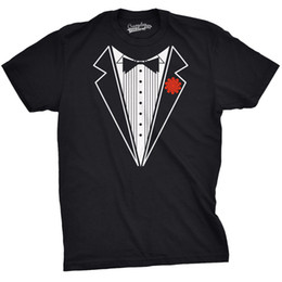 Wholesale Men S Marriage Suits - Mens Black Tuxedo T Shirt Funny Lazy Wedding Fake Suit Fancy Marriage Tee T Shirt Men Print Short Sleeves Cotton Free Shipping