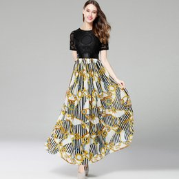 Wholesale Patchwork Print Chiffon Dress - New Arrival 2018 Women's O Neck Short Sleeves Embroidery Lace Bodice Printed Patchwork Elegant Prom Fashion Long Dresses