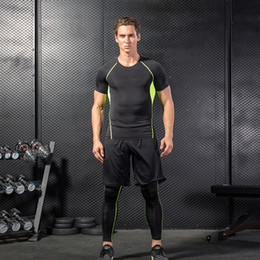 Wholesale yellow skin suit - Men's Fitness Wear Three -Piece-Speed Dry Skin - Tight Gym Shorts Tracksuits Suits Outdoor Running A Training Suit