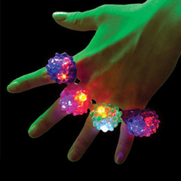 Wholesale Rubber Led Light Ring - 6 Pack Led Rubber Rings For Party Favors Jelly Bubble Light Up Finger Toy