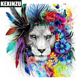 Wholesale Canvas Paintings Crosses - New Cool Colorful Lion 5D Square drill Diamond Paint Embroidery pattern Cross Stitch kits Mosaic Decor stickers