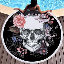 Rote rose gedruckte muster online-13 Arten Rose Skull Printed Strandtücher 500g Hamam Large Strandtuch für Erwachsene Microfine Red Flower Pattern Strandtuch 150cm